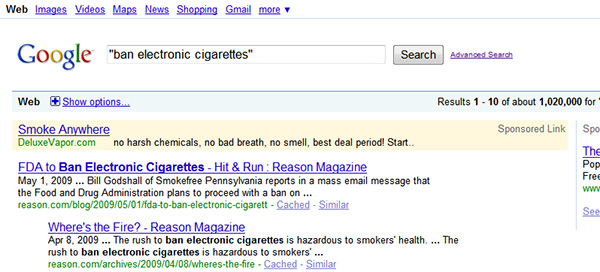 """Ban Electronic Cigarettes"" (Click to Enlarge)"