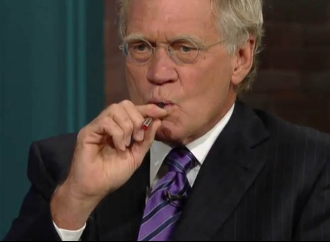 David Letterman smoking a cigarette (or weed)